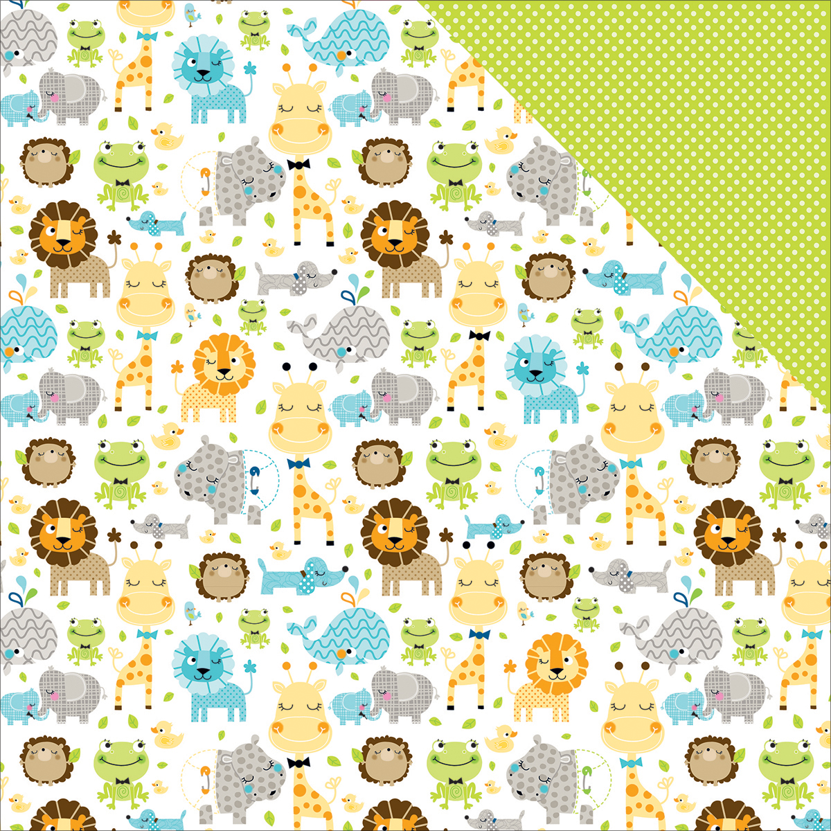 "Cute Baby Boy Double-Sided Cardstock 12""X12""-Jungle Jammies"