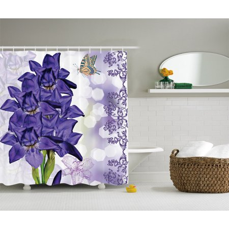 Iris Flower Decor Pastoral Spring Season With Art Prints Fabric