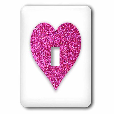 3dRose Hot Pink Heart made from a glitter photo graphic - not actual glitter, Single Toggle Switch