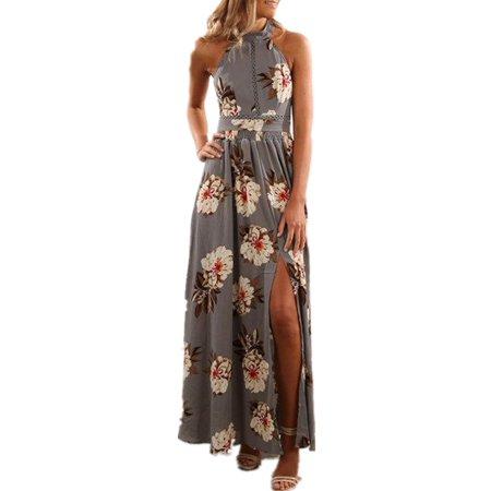 Flower Print Women Sleeveless Halter Long Split Party Dress