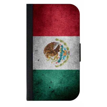 Mexican Flag Phone Case Compatible with the Samsung Galaxy s9 - Wallet Style with Card (Best Phone Card To Call Mexico)