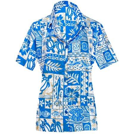 HAPPY BAY Women's Beach hawaiian button down blouse casual tank top aloha Shirt Blue_W953 (Women's Hawaiian Blouses)