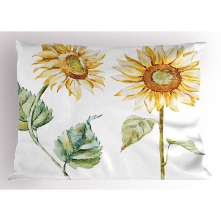 Watercolor Pillow Sham Alluring Sunflowers Summer Inspired Design Agriculture, Decorative Standard King Size Printed Pillowcase, 36 X 20 Inches, Earth Yellow Pale Yellow Fern Green, by Ambesonne ()