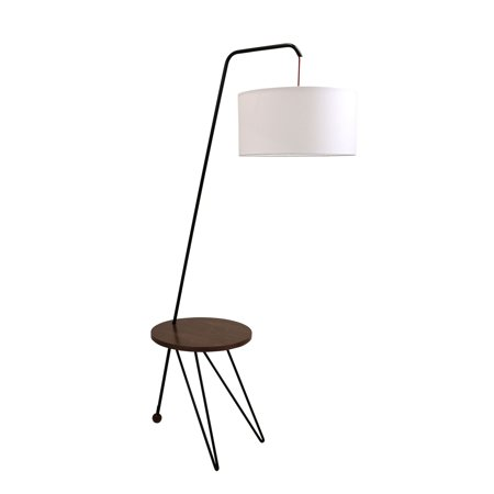 Acrylic Modern Table Lamp - Stork Mid-Century Modern Floor Lamp with Walnut Wood Table Accent and White Shade by LumiSource