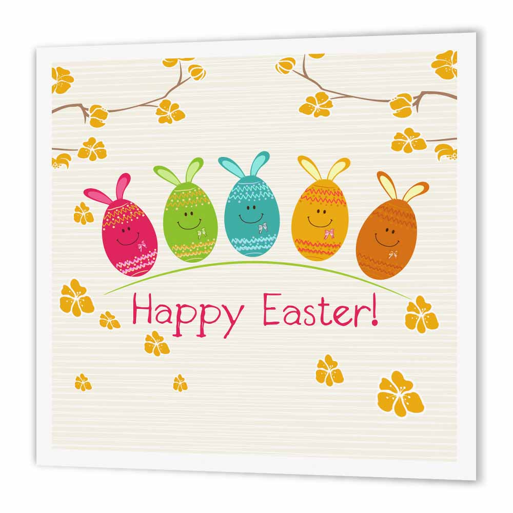 3dRose Cute Adorable Cartoon Easter Egg Bunnies and Flowers Happy Easter, Iron On Heat Transfer, 8 by 8-inch, For White Material
