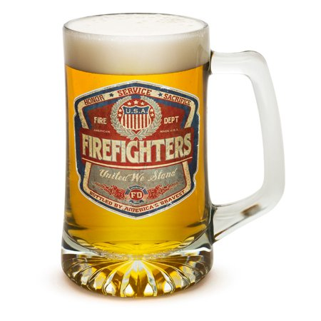 Beer Mugs with Handles – Denim Fade Beer Label 25 oz Tankard Beer Mug – Firefighter Gifts for Men or Women – Beer Glasses with Logo – Set of 4 (25 Ounces)