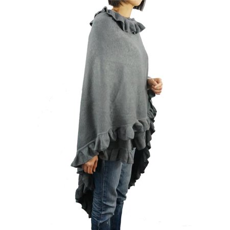 Luxury Women Ruffle Edge Poncho Knitted Shawl Premium Lady Soft Knit Cape Jacket Fashion Scarf Stretchy Wrap Over Solid Color Girl Large Shawl Elegant Cloak Warmer, Slate