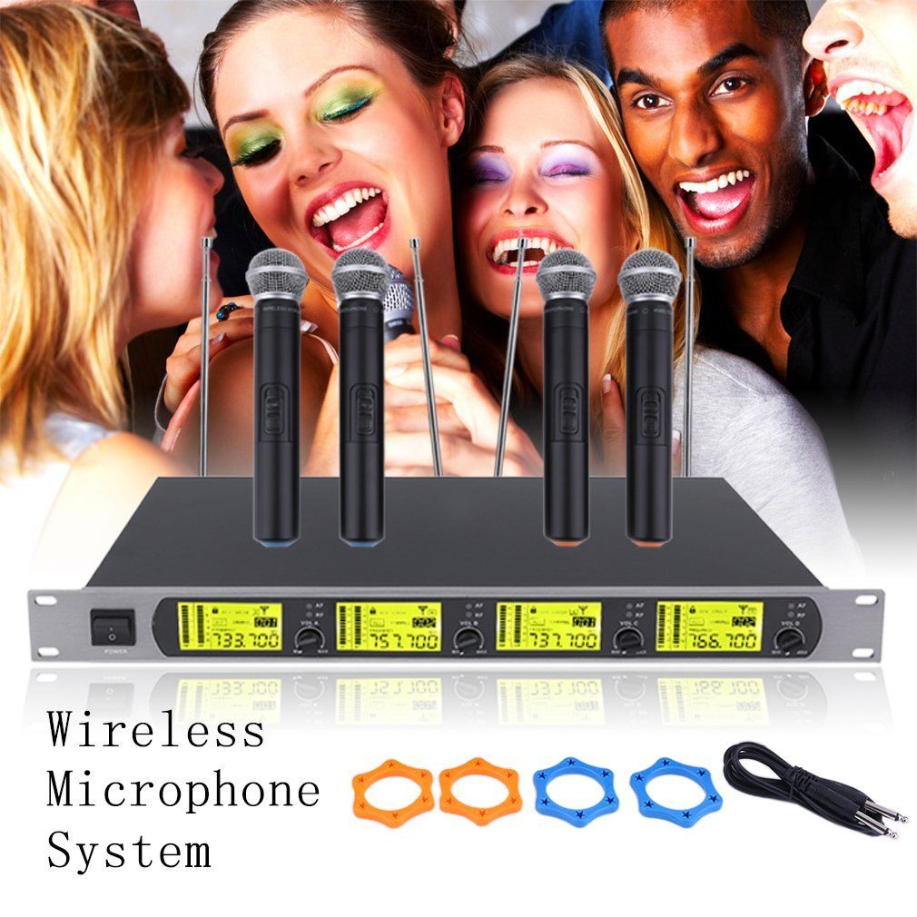 4 Channel UHF Wireless Microphone System with LCD Display Handheld Microphones Karaoke... by LESHP