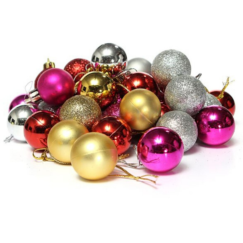 Enjoyofmine 24Pcs/Set Christmas balls Plastic Light Balls Christmas Tree Ornaments Decorations