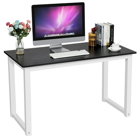 Topeakmart Modern Computer Desk Workstation Writing Study Table for Home Office, Black Studio Writing Desk