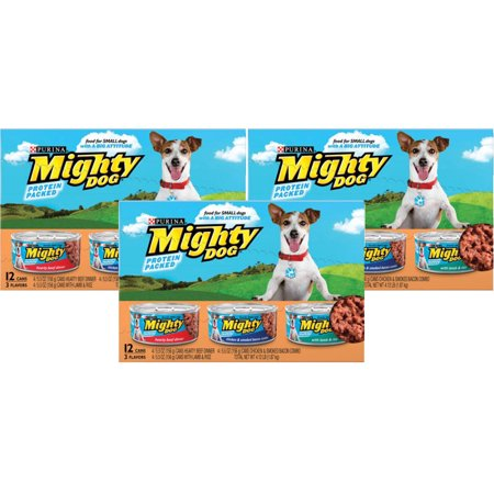 (3 Pack) Mighty Dog Hearty Beef Dinner, Chicken & Smoked Bacon Combo & Lamb & Rice Variety Pack Wet Dog Food, 5.5 Oz, Case of