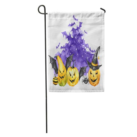 KDAGR Watercolor Scary Night Flock of Bats and Holidays Pumpkins Halloween Magic Symbol Horror Vampires Can Be Garden Flag Decorative Flag House Banner 28x40 inch - Horror Halloween Pumpkin
