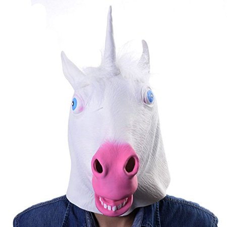 Unicorn Mask White Latex Fun Party Rubber Animal Costume Theater Prop Novelty Cover - Celebrity Rubber Masks