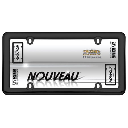 Nouveau Black Plastic 4 hole License Plate Frame Free Screw Caps with this Frame