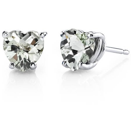 - 1.50 Carat T.G.W. Heart-Cut Green Amethyst 14kt White Gold Stud Earrings