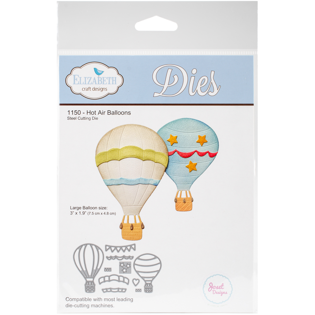 "Elizabeth Craft Metal Die-Hot Air Balloons, 1.9""X3"""