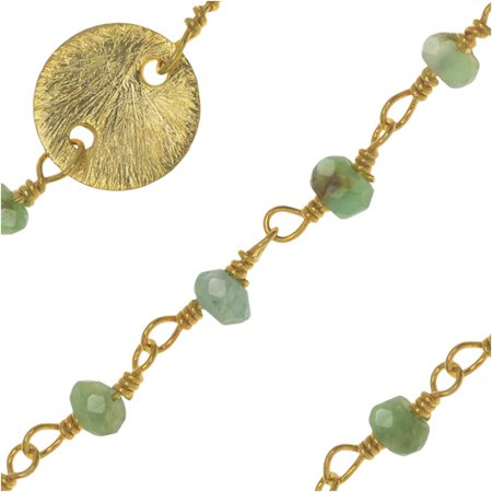 Gold Vermeil Wire Wrapped Gemstone Chain, Aventurine Rondelles 3mm and 8mm Pailettes, 1 Inch, Green