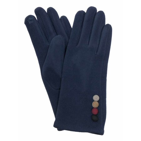 Womens Navy Blue Faux Suede Button Stretch Fit Texting & Tech Touchscreen Gloves Dark Blue Faux Suede