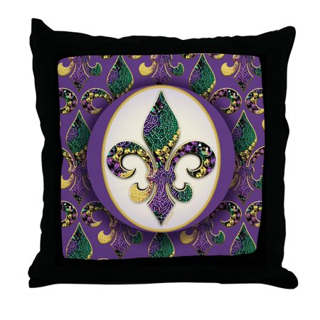 CafePress - Fleur De Lis Mardi Gras Beads - Decor Throw Pillow (18