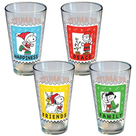 (Set/4) PEANUTS Christmas Holiday Postage Stamp Collectible Pint Glasses ()