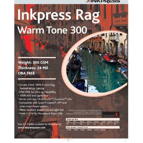"Inkpress Picture Rag Warm Tone Paper-300 gsm 44""x50' roll"