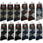 12 Pairs Men Dress Socks Size 10-13 Argyle Design