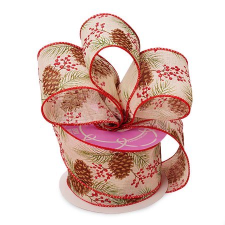 """2 1/2"""" X 10 Yards Multi Pinecones & Holly Sheer Ribbon Christmas  by Paper Mart"""
