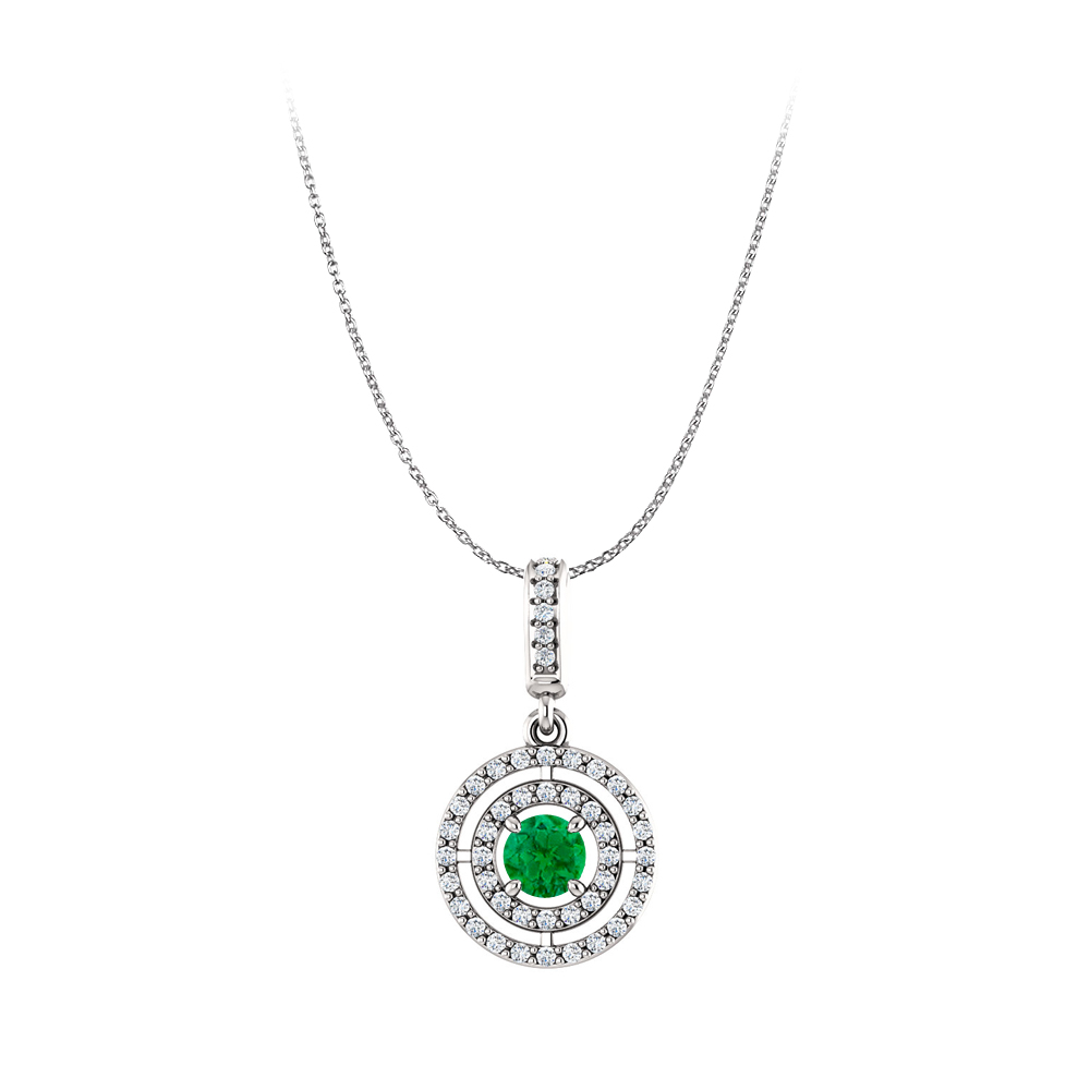 Emerald and Cubic Zirconia 925 Sterling Silver Pendant - image 2 of 2