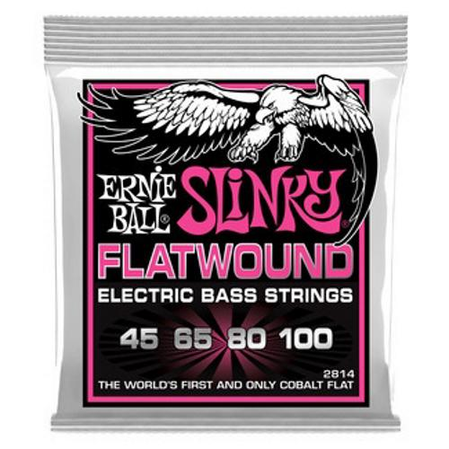 Ernie Ball 2814 Super Slinky Flatwound Electric Bass Guitar 4-String Set, 45-100