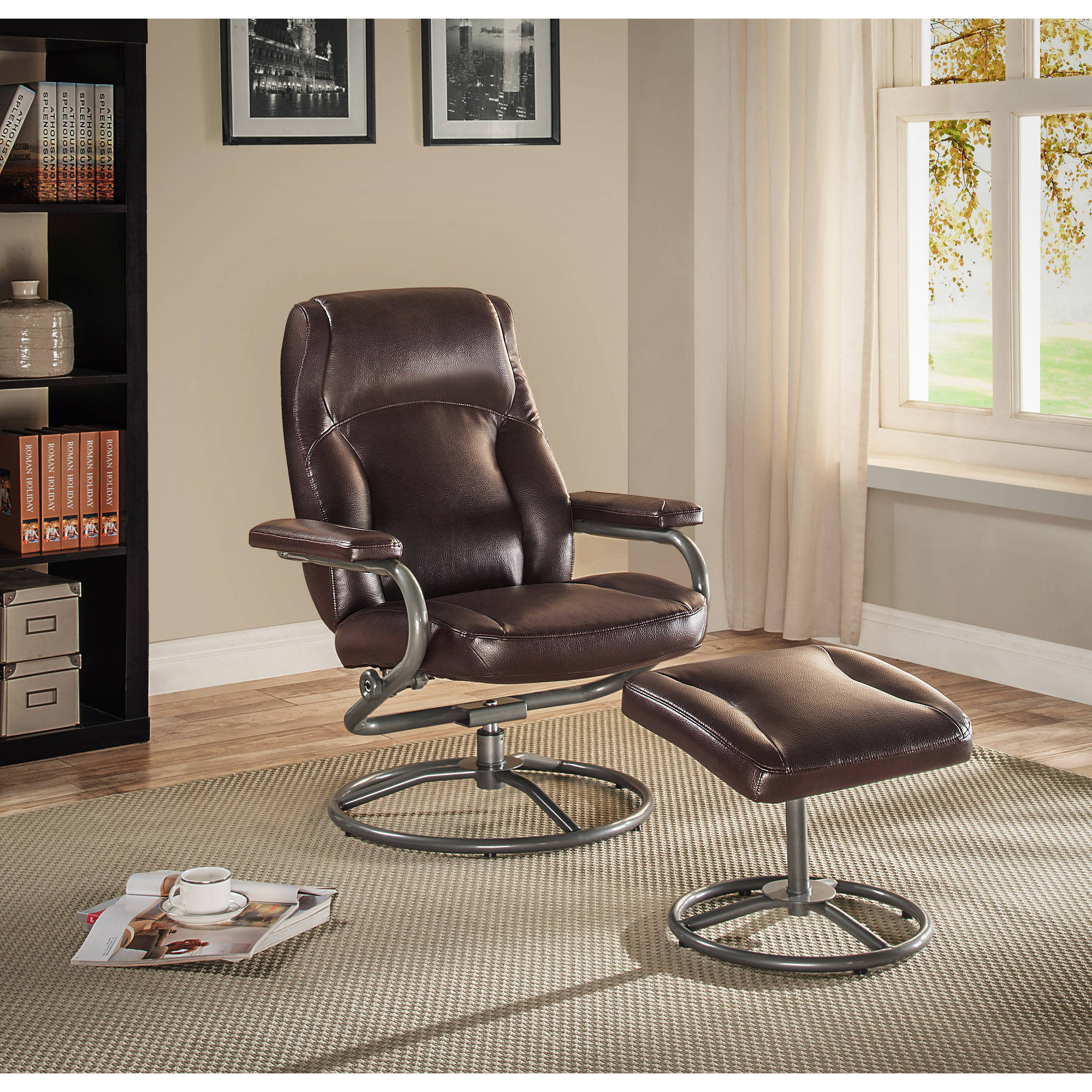 Recliner Chair Ottoman Set Living Room Swivel Office Furniture Seat Brown Vinyl