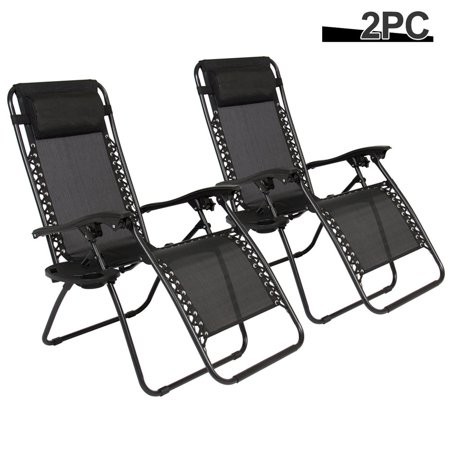 Patio Furniture For Over 300 Lbs.Folding Patio Chairs Set Of 2 Zero Gravity Outdoor Lounge Chairs With Cup Holder And Mobile Device Slot Adjustable Lawn Reclining Chairs With Pillow
