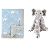 Hudson Baby Boys' and Girls' Plush Blanket with Security Blanket, Choose Your Color