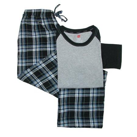 Flannel Mens Pajamas - Hanes  Men's Cotton Long Sleeve Shirt and Flannel Pajama Pants