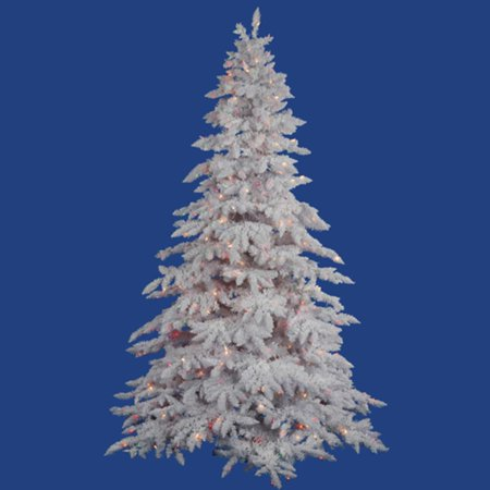 9' Pre-Lit Flocked White Spruce Full Artificial Christmas ...