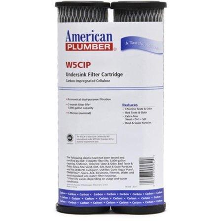 Commercial Water Distributing AMERICAN-PLUMBER-W5CIP Undersink Filter Replacement Cartridge - Pack of 2 Two Replacement Filter Cartridges