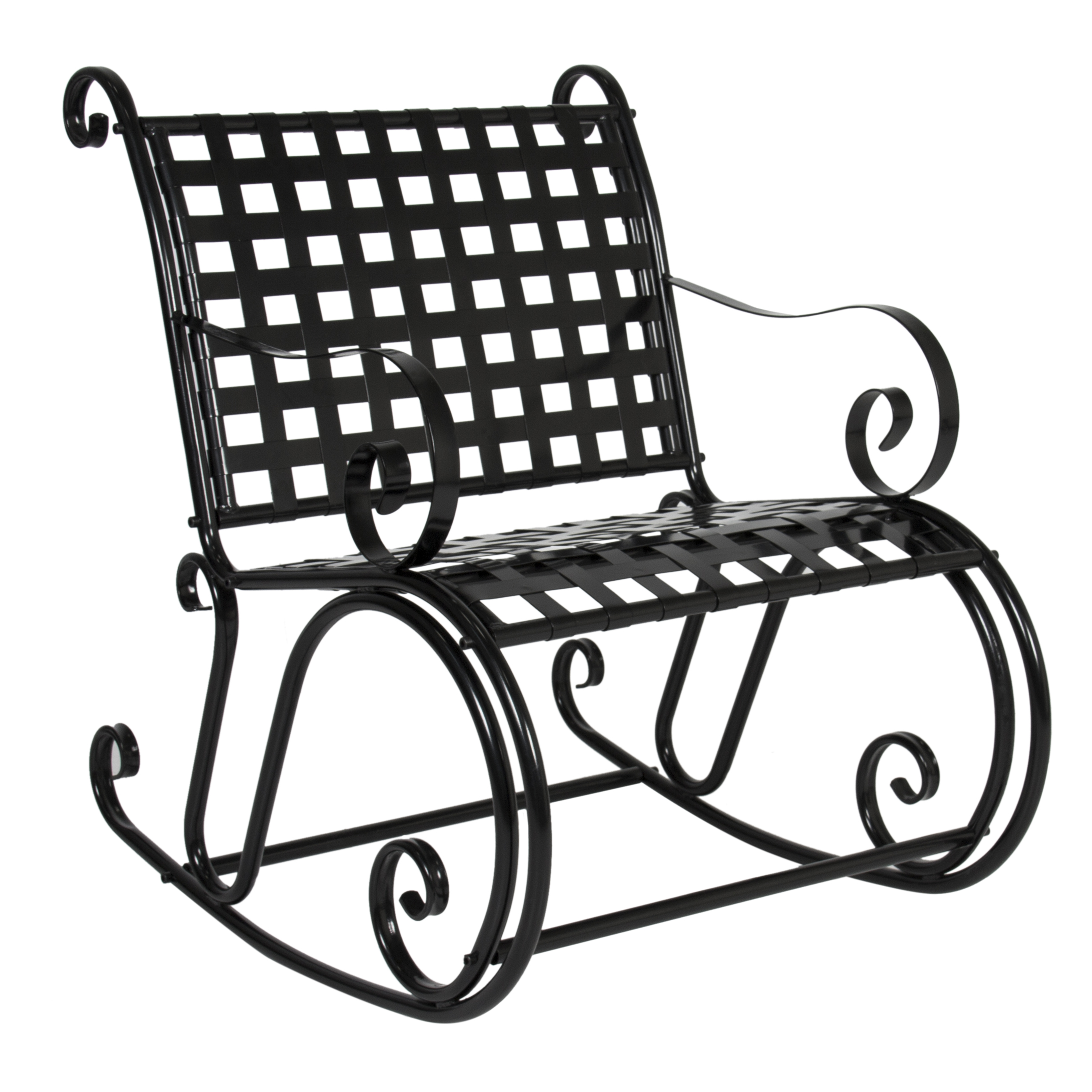 BCP Patio Iron Scroll Rocker Porch Rocking Chair Outdoor Seat Antique Black