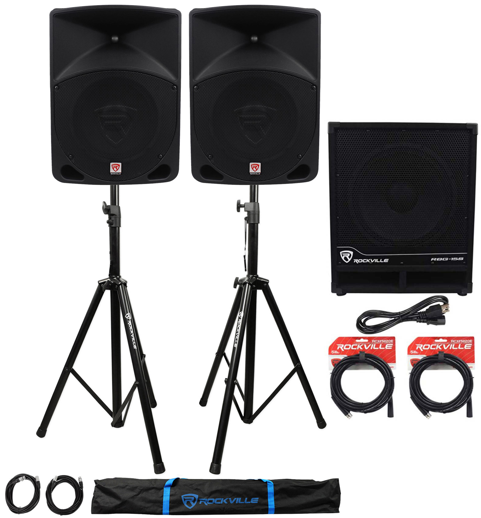 "(2) Rockville RPG10 10"" Powered PA Speakers+Active 15"" Subwoofer+Stands+Cables by ROCKVILLE"