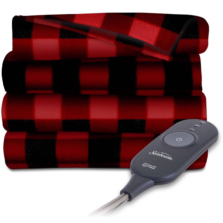 Sunbeam Electric Heated Fleece Throw Blanket, 60 x 50 Inch, Red Buffalo Plaid
