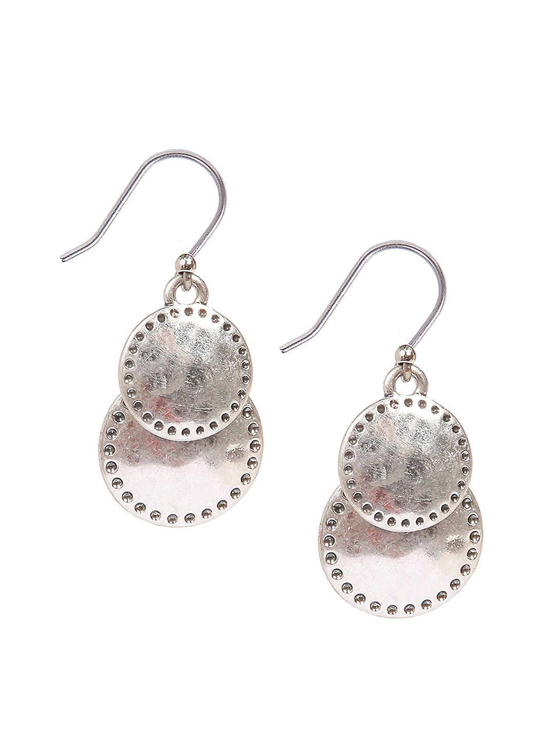 Silvertone Double Disc Drop Earrings