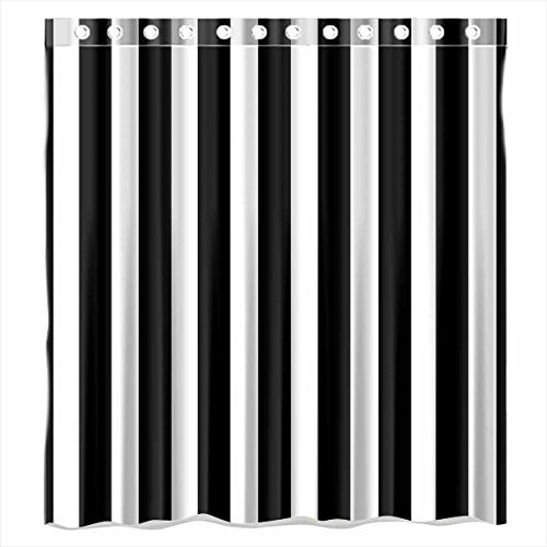 Black White Stripe Polyester Waterproof Bathroom Fabric Shower Curtain 12 Hook