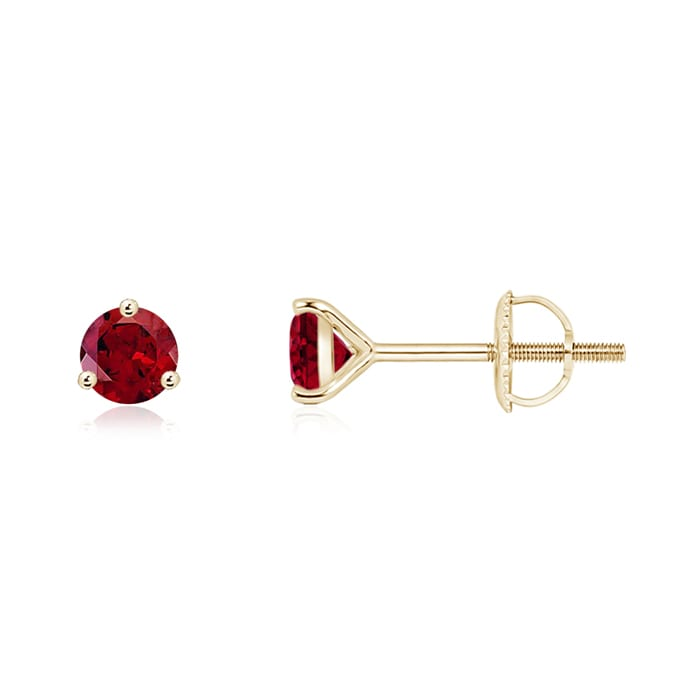 Angara Round Ruby Gemstone Stud Earrings in 14k Yellow Gold 77lryGltie
