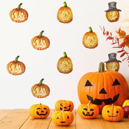 Halloweens Over Quotes (JuDan Halloween Pumpkin Removable Wall Stickers Quote Art DIY Decal Mural)