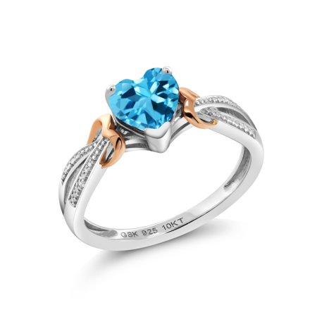 925 Silver & 10K Rose Gold 0.96 Ct Heart Shape Swiss Blue Topaz Diamond Ring