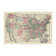 Map of The United States Territories 1872 Print (Unframed Paper Print 20x30)