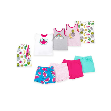 100% Organic Cotton Star-Pack Mix 'n Match Outfits, 8pc Gift Bag Set (Toddler Girls)