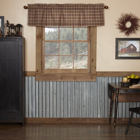 Natural Tan Primitive Kitchen Curtains Cinnamon Plaid Rod ...