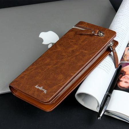 Men's Long Wallet Pockets Money Purse ID Credit Card Clutch - Credit Card Clutch