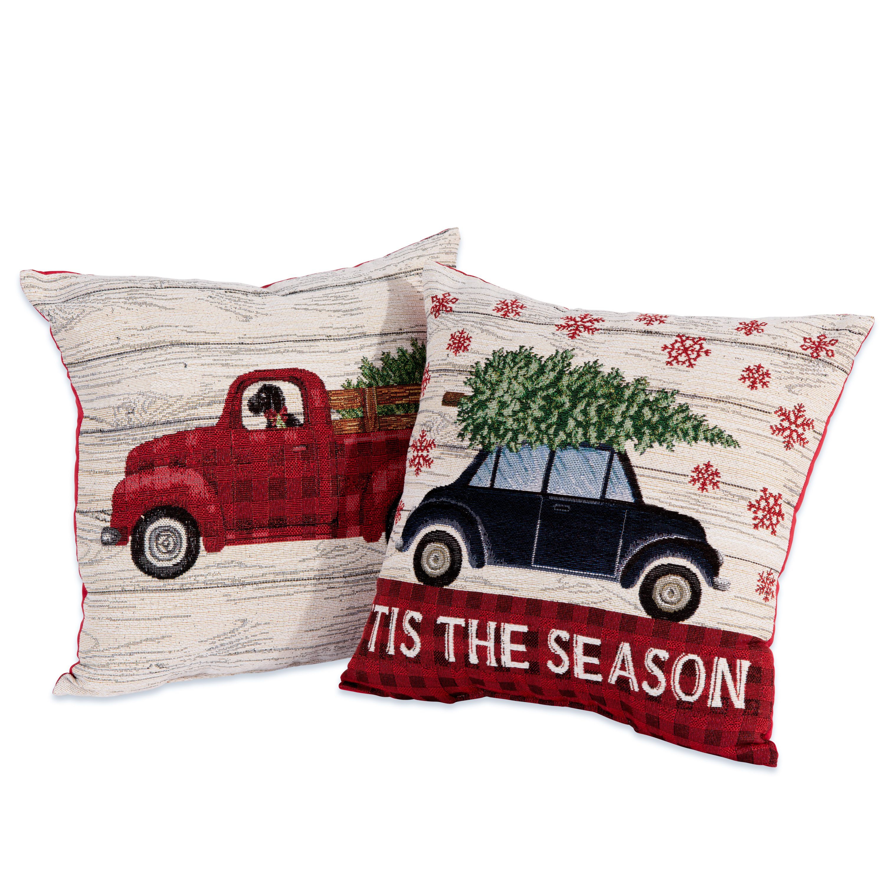 mainstays holiday car truck decorative throw pillow 17 x17 2 pack. Black Bedroom Furniture Sets. Home Design Ideas