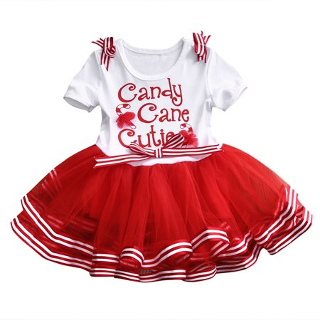 Little Girls Christmas Holiday Candy Cane Cutie Tutu Dress for $<!---->