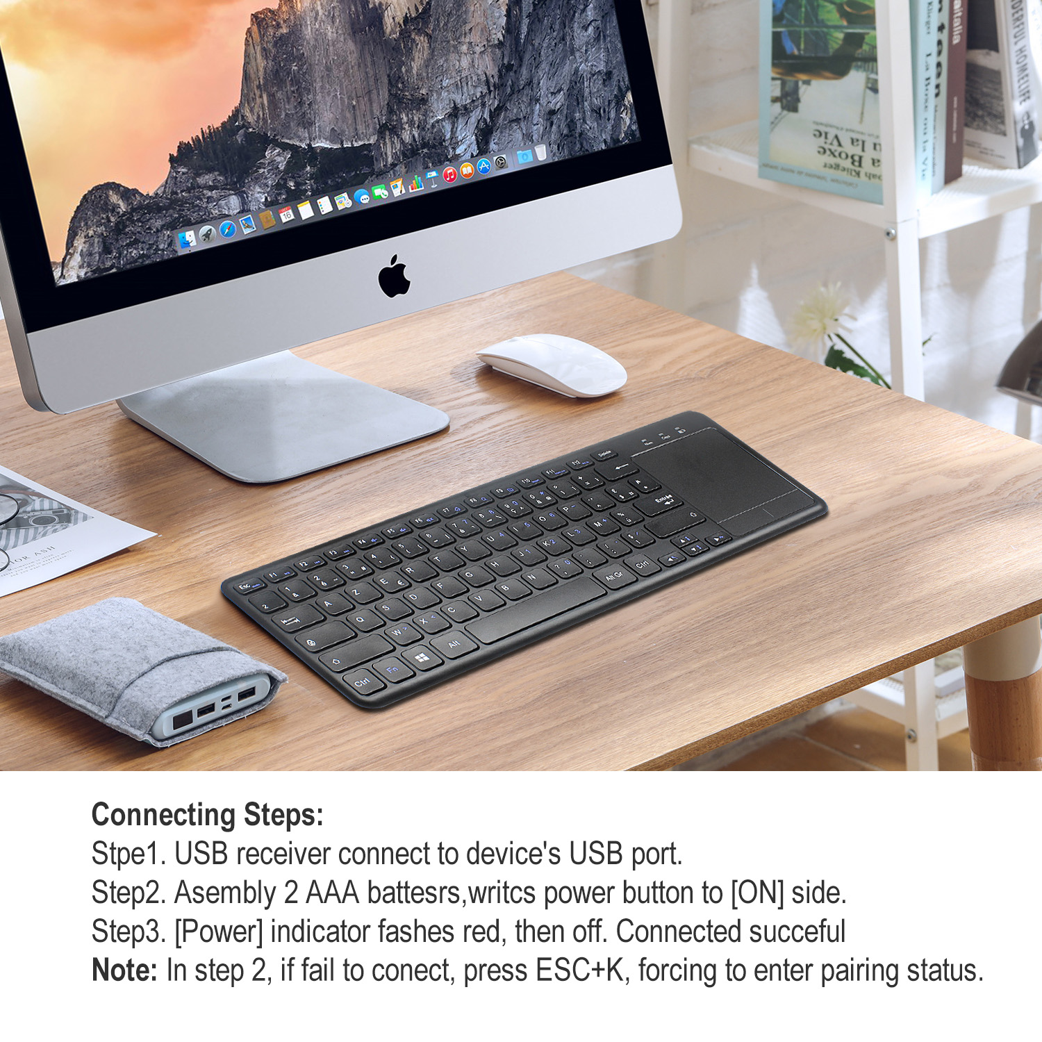 RONSHIN L200 Keyboard in English and French 2.4G Wireless Keyboard for Tablet Desktop with Touch Mouse L200 French Keyboard